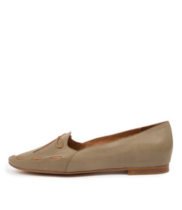 SONGA Flats in Khaki Leather