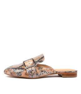 SYLVIE Flats in Denim/ Tan Snake Leather