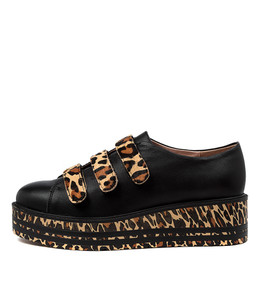 SLEEPY Sneakers in Black/ Ocelot Leather