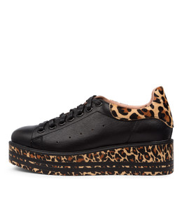 SHER Sneakers in Black/ Ocelot Leather