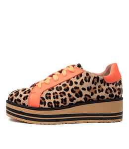 SHARK Sneakers in Ocelot/ Orange Fluro Leather