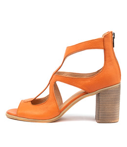 WINFOLM Heeled Sandals in Orange Leather