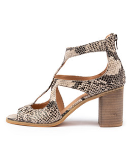 WINFOLM Heeled Sandals in Black/ Natural Snake Leather