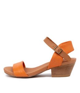CONTROL Heeled Sandals in Burnt Orange/ Dark Tan Leather