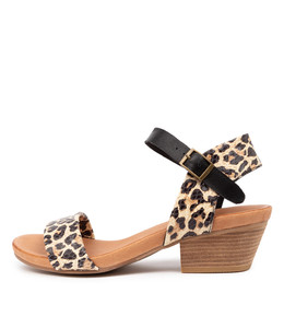 CONTROL Heeled Sandals in Ocelot/ Black Leather