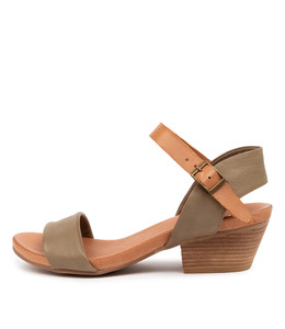 CONTROL Heeled Sandals in Khaki/ Dark Tan Leather