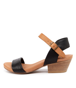 CONTROL Heeled Sandals in Black/ Dark Tan Leather