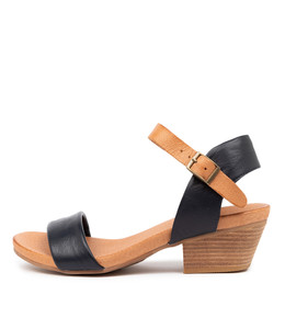 CONTROL Heeled Sandals in Navy/ Dark Tan Leather