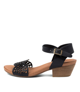 CRADLES Heeled Sandals in Navy Leather
