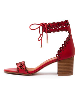 ROCHELLE Heeled Sandals in Red Leather