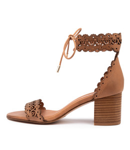 ROCHELLE Heeled Sandals in Tan Leather