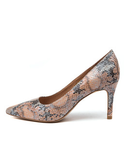 BARTON High Heels in Denim/ Tan Snake Leather