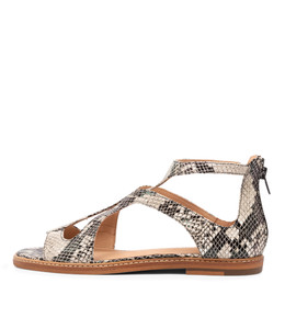 NATOSHA Sandals in Black/ Natural Snake Leather