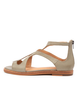 NATOSHA Sandals in Dark Khaki Leather