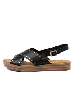 FRIZZIE Sandals in Black Leather
