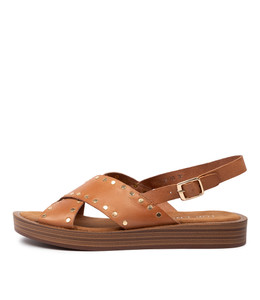 FRIZZIE Sandals in Dark Tan Leather