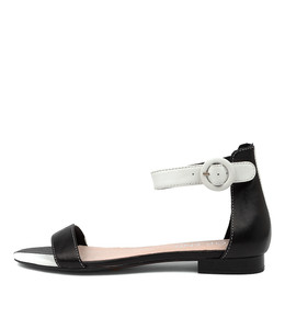 POISON Sandals in Black/ White Leather