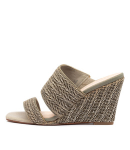 KOHEN Wedge Sandals in Khaki Raffia