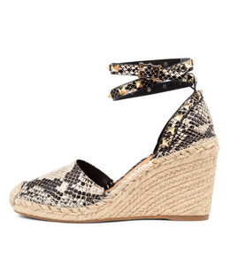 MIKKEL Espadrille Wedges in Black/ Natural Snake Leather