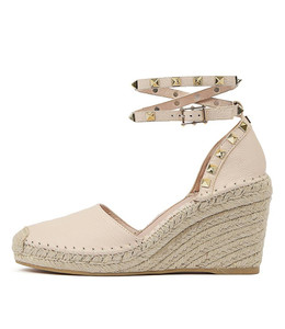 MIKKEL Espadrille Wedges in Nude Leather