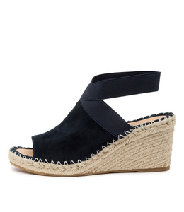 GONE Espadrille Wedges in Navy Suede