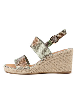 GAGA Espadrille Sandals in Green Multi Snake Leather