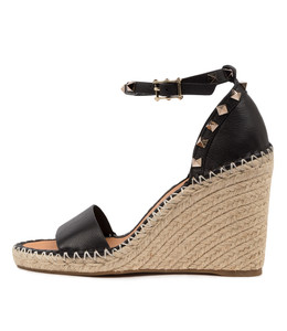 EDWINA Espadrille Sandals in Black Leather