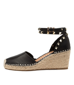 JUDI Espadrille Wedges in Black Leather