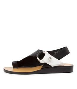 RENEE Sandals in Black/ White Leather
