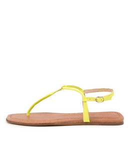 LEERAN Sandals in Yellow Fluro Leather