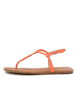 LEERAN Sandals in Orange Fluro Leather