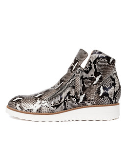 OHMY Ankle Boots in Black/ White Snake Leather