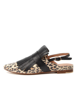 FLYE Flats in Ocelot/ Black Leather