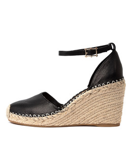 MADDEN Espadrille Wedges in Black Leather