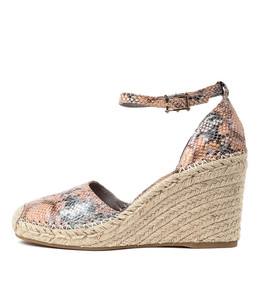 MADDEN Espadrille Wedges in Denim/ Tan Snake Leather