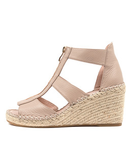 GOGO Espadrille Wedges in Rose Leather