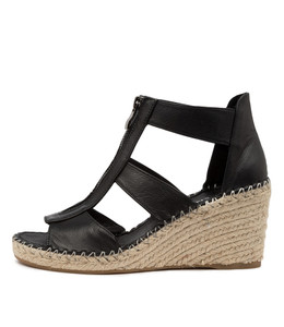 GOGO Espadrille Wedges in Black Leather