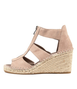 GOGO Espadrille Wedges in Taupe Suede