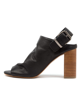 YESSAR Heeled Sandals in Black Leather