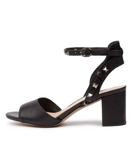 GERRI Heeled Sandals in Black Leather