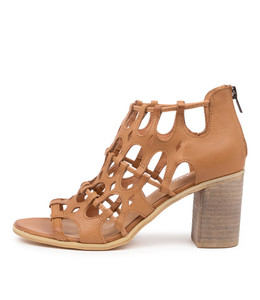 WALLACE Heeled Sandals in Dark Tan Leather