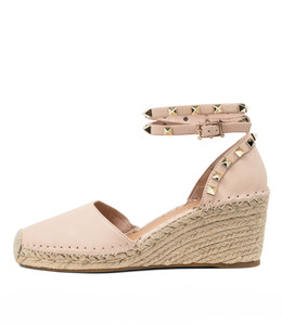 JUDI Espadrille Wedges in Nude Leather