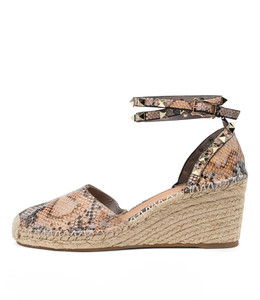 JUDI Espadrille Wedges in Denim/ Tan Snake Leather