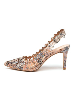BECKETS High Heels in Denim/ Tan Snake Leather