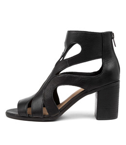 WILLIEN Heeled Sandals in Black Leather