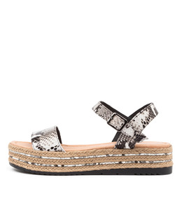 ALETHAS Sandals in Black/White Snake Leather
