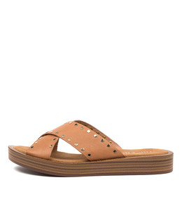 FUNDER Sandals in Dark Tan Leather