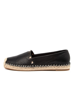 TOPPI Flats in Black Leather
