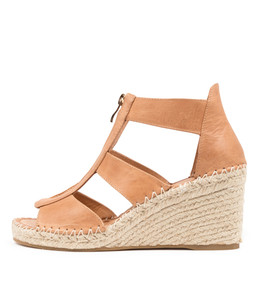GOGO Espadrille Wedges in Tan Leather