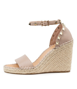 EDWINA Espadrille Wedges in Rose Leather